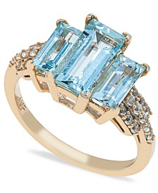 Aquamarine (3 ct. t.w) Diamond (1/2 ct. t.w.) Ring in 14K Yellow Gold