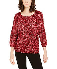 Printed 3/4-Sleeve Peasant Top, Regular & Petite