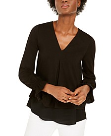 Inverted-Pleat Flare-Sleeve Top, Regular & Petite