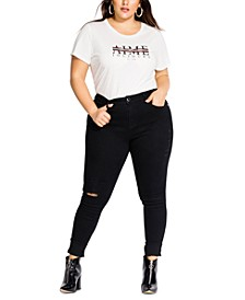 Trendy Plus Size Soft Rock Ripped Skinny Jeans