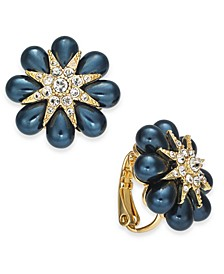 Gold-Tone Pavé & Imitation Pearl Flower Burst Clip-On Button Earrings, Created for Macy's