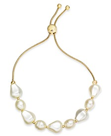 Gold-Tone Imitation Pearl Slider Bracelet, Created for Macy's