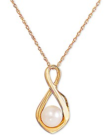 "Cultured Freshwater Pearl (6mm) Infinity 18"" Pendant Necklace in 10k Gold"