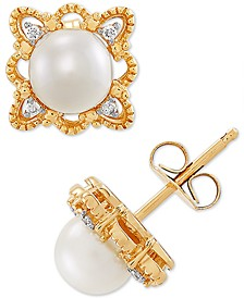 Cultured Freshwater Pearl (5-1/2mm) & Diamond Accent Stud Earrings in 10k Gold