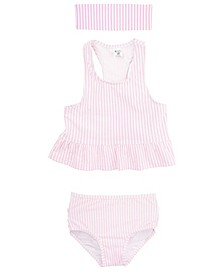RuffleButts Toddler, Little and Big Girl's Peplum 2-Piece Tankini Swimsuit Swim Headband Set