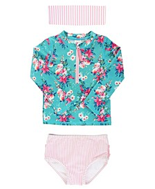 Little Girl's Long Sleeve 2-Piece Rash Guard Bikini with Zipper Swim Headband Set