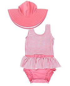 Toddler Girl's Skirted 1-Piece Swimsuit Swim Hat Set