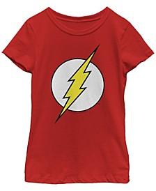 DC Comic's Big Girl's Retro Flash Logo Short Sleeve T-Shirt