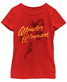 DC Comic's Big Girl's Wonder Woman Outline Short Sleeve T-Shirt