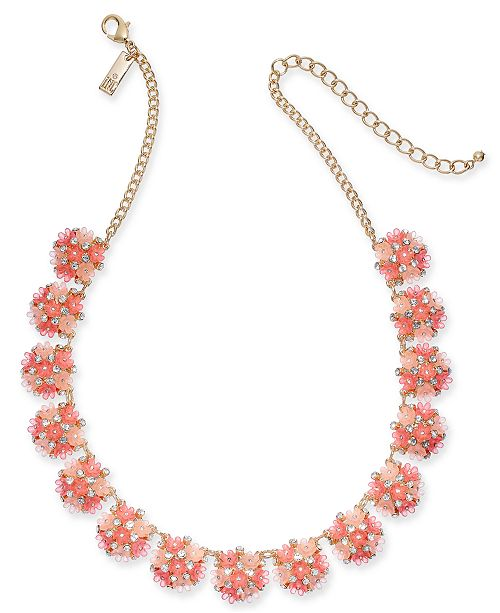 "INC International Concepts INC Gold-Tone Pavé Flower Strand Necklace, 17"" + 3"" extender, Created For Macy's"