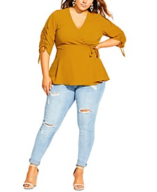 Trendy Plus Sized Ruched Peplum Top