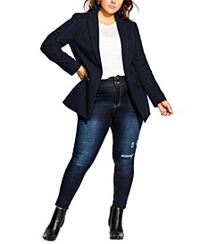 Trendy Plus Size Pinstripe Jacket