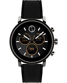 Men's Swiss Connect 2.0 Black Silicone Strap Touchscreen Smart Watch 40mm