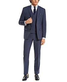 Men's Classic-Fit UltraFlex Navy Double Windowpane Three-Piece Suit Separates