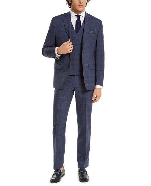 Ralph Lauren Men's Classic-Fit UltraFlex Navy Double Windowpane Three-Piece Suit Separates