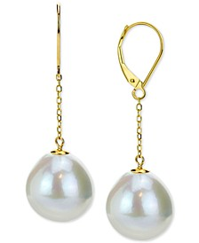 Cultured Baroque Freshwater Pearl (12-14mm) Drop Earrings in 14k Gold