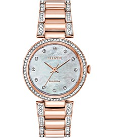 Eco-Drive Women's Silhouette Pink Gold-Tone Stainless Steel & Crystal Bracelet Watch 28mm