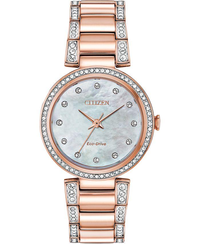 Citizen - Women's Silhouette Pink Gold-Tone Stainless Steel & Crystal Bracelet Watch 28mm