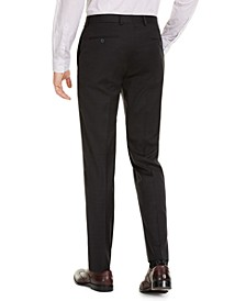 Men's Slim-Fit Performance Stretch Wrinkle-Resistant Mini Check Dress Pants