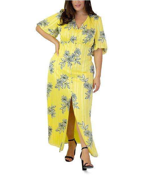 Plus Size Bubble-Sleeve Maxi Dress