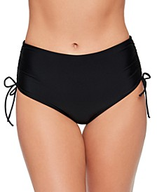 Solid Shirred-Side High-Waist Bikini Bottoms, Created for Macy's