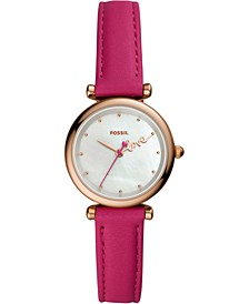 Women's Mini Carlie Hot Pink Leather Strap Watch 28mm