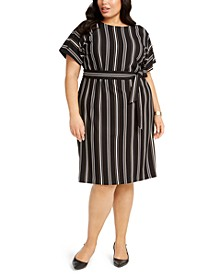 Plus Size Striped Tie-Waist Dress, Created for Macy's