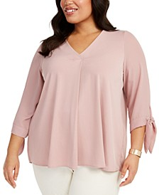 Plus Size Pleated-Back Tie-Sleeve Top, Created for Macy's