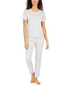 Lace-Trim Heart-Print Pajama Set