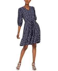 Belted Plaid Gauze Dress