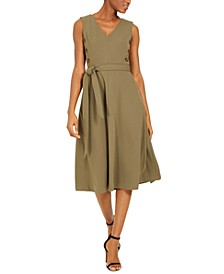 Tortoise-Shell Button Fit & Flare Dress