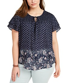 Plus Size Smocked-Yoke Top, Created for Macy's