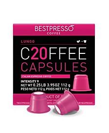 Coffee Lungo Flavor 20 Capsules per Pack for Nespresso Original Machine