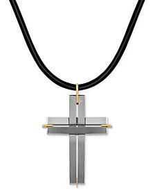 "Two-Tone Leather Cord Cross 24"" Pendant Necklace in Stainless Steel & 18k Gold"