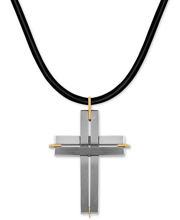 """Macy's - Two-Tone Leather Cord Cross 24"""" Pendant Necklace in Stainless Steel & 18k Gold"""