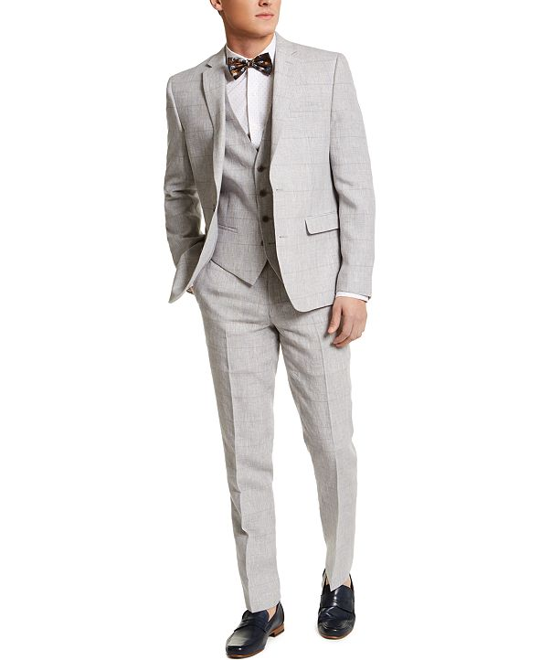 Bar III Men's Slim-Fit Gray Plaid Linen Three-Piece Suit Separates, Created for Macy's