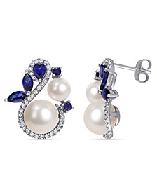 Freshwater Cultured Pearl (5.5-8.5mm), Created Sapphire (1 1/10 ct. t.w.) and Diamond (1/3 ct. t.w.) Swan Earrings in 10k White Gold
