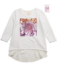 Belle Du Jour Big Girls 2-Pc. Sequin Floral Top & Heart Barrettes Set