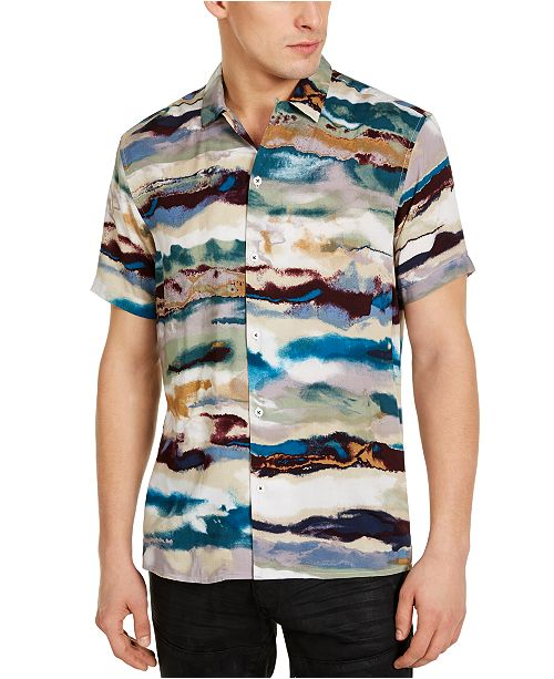 INC International Concepts INC Men's Watercolor Striped Shirt, Created For Macy's
