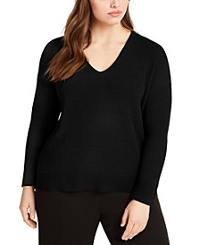Plus Size Dropped Shoulder Sweater