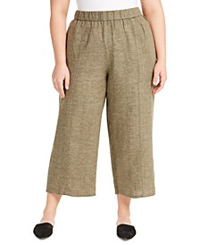 Plus Size Organic Linen Wide-Leg Cropped Pants