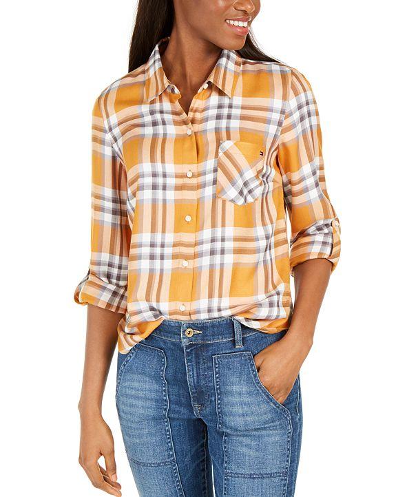 Tommy Hilfiger Roll-Sleeve Plaid Shirt