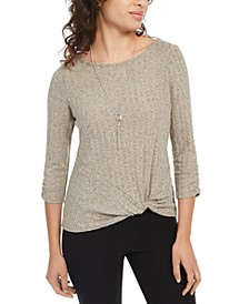 Juniors' Knit Twist-Front Top