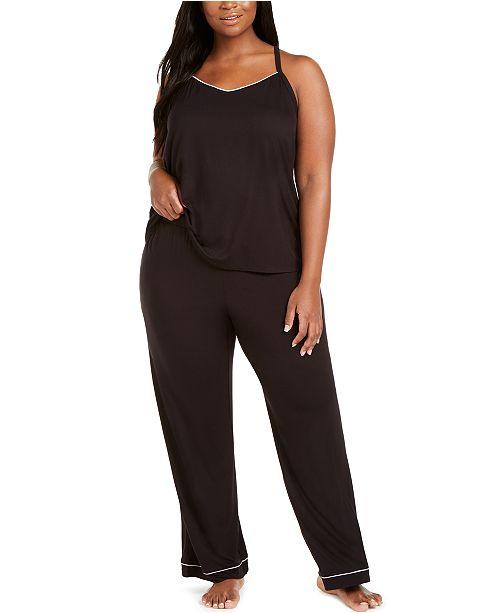 Alfani Plus Size Knit Tank Top Pajama Set, Created for Macy's