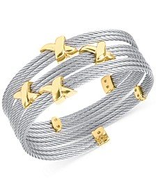 Twist Cable Wide Wrap Bracelet in Stainless Steel & Gold-Tone PVD