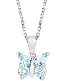 "Blue Topaz Butterfly 18"" Pendant Necklace (3/4 ct. t.w.) in Sterling Silver"