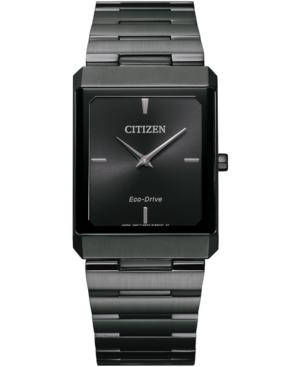Unisex Eco-Drive Stiletto Gray Stainless Steel Bracelet Watch 28x38mm