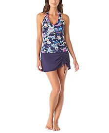 Shirred Tankini Top & Sarong Swim Skirt