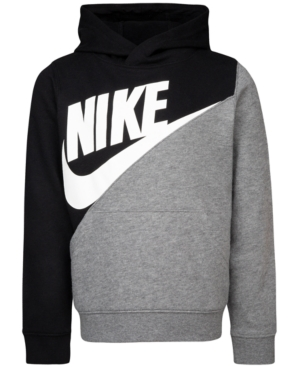 An extra-cool twist on colorblocking. With a diagonal design, he\'s sure to be the most stylish boy on the block in this cozy hoodie by Nike.