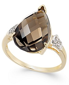 Smoky Quartz (5-3/4 ct. t.w.) & Diamond (1/20 ct. t.w.) Statement Ring in 14k Gold